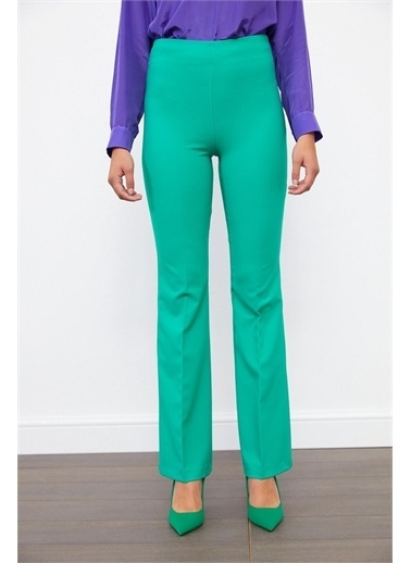 Setre Ekru Yüksek Bel Bedene Oturan ıspanyol Paça Kumaş Pantolon Yeşil